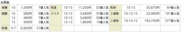 リホースReHorse_20151010京都9Rレース結果