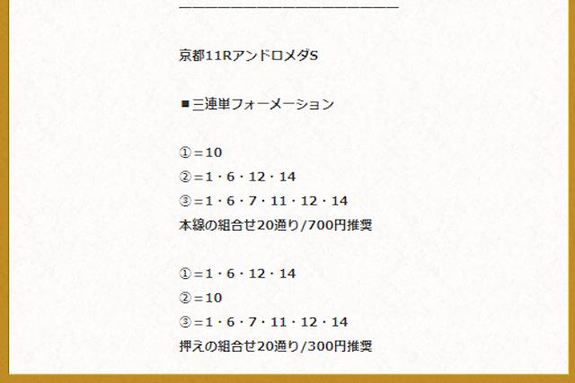 2019年11月16日京都11Rの予想画像