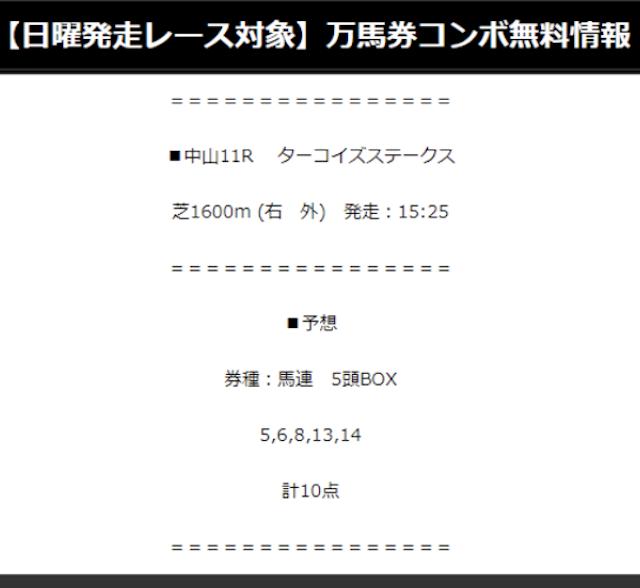万馬券COMBOの無料予想2019年12月14日中山11RターコイズSの買い目画像