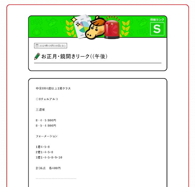 競馬アナリティクス有料情報0109