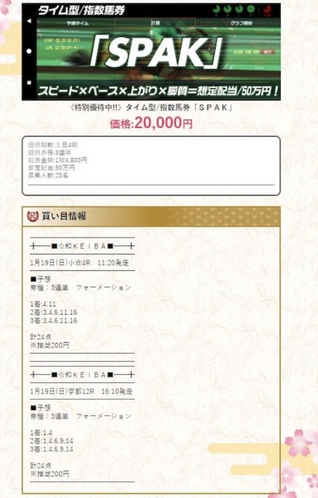 令和ケイバ有料情報0119買い目